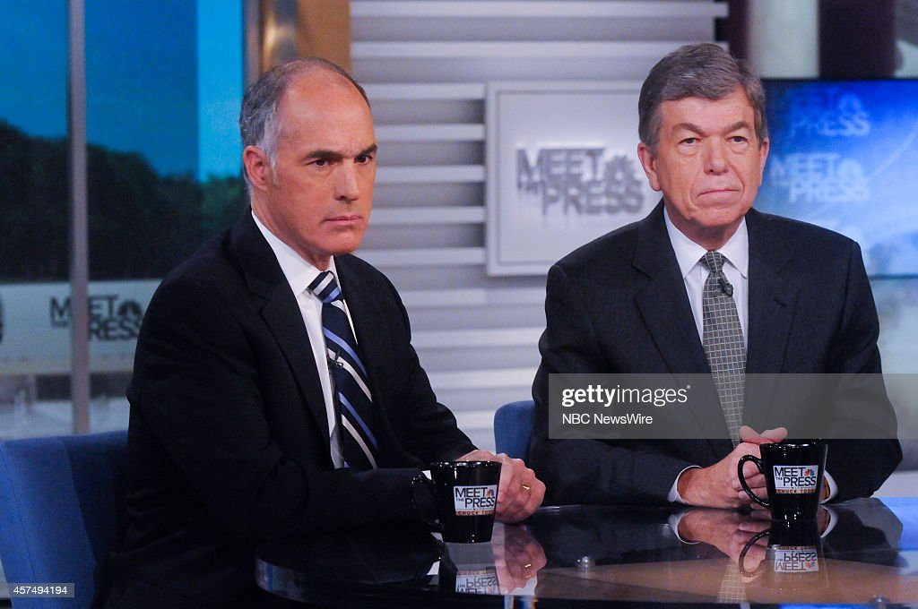 Sen. Bob Casey (D-PA) left, and Sen. Roy Blunt (R-MO) right, appear on 'Meet the Press' in Washington, D.C., Sunday, Oct. 19, 2014.