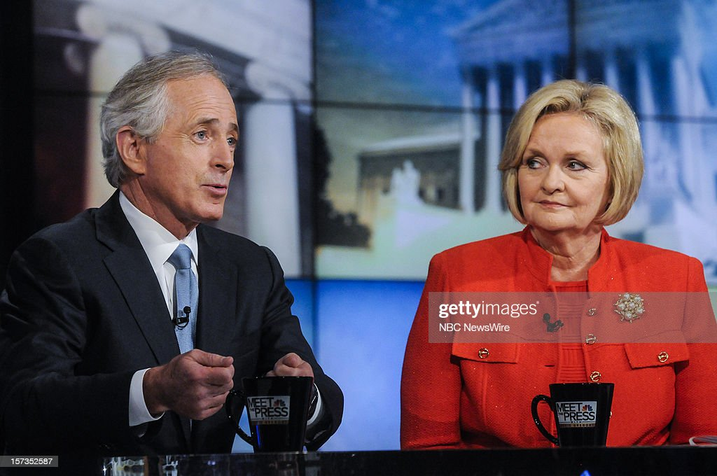 – Sen. Bob Corker (R-TN) left, and Sen. Claire McCaskill (D-MO) right, appear on 'Meet the Press' in Washington D.C., Sunday, Dec. 2, 2012.