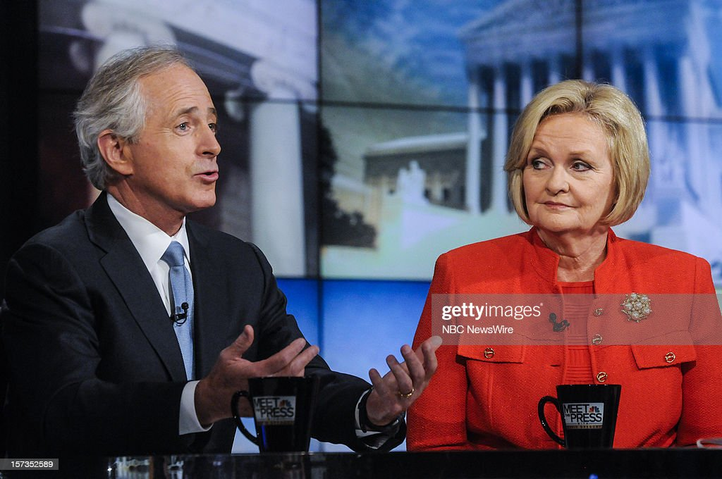 – Sen. Bob Corker (R-TN) left, and Sen. Claire McCaskill (D-MO) right, appear on 'Meet the Press' in Washington D.C., Sunday, Dec. 2, 2012.