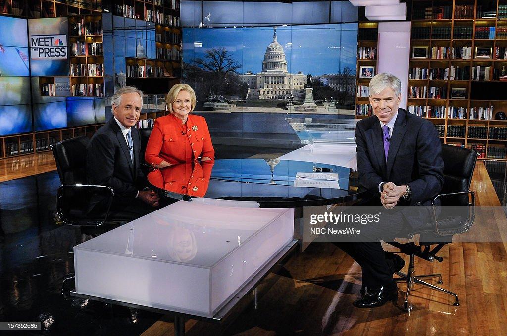 – Sen. Bob Corker (R-TN) left, Sen. Claire McCaskill (D-MO) center, and moderator David Gregory, right, appear on 'Meet the Press' in Washington D.C., Sunday, Dec. 2, 2012.