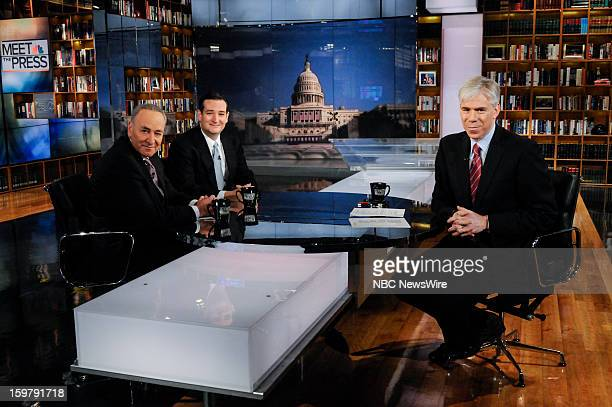 – Sen Chuck Schumer left Sen Ted Cruz center and moderator David Gregory right appear on 'Meet the Press' in Washington DC Sunday Jan 20 2013