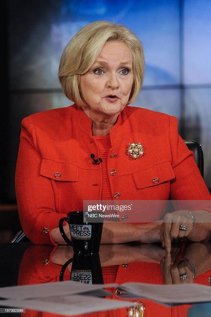 – Sen. Claire McCaskill (D-MO) appears on 'Meet the Press' in Washington D.C., Sunday, Dec. 2, 2012.
