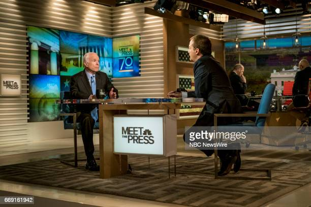 Sen John McCain and moderator Chuck Todd appear on 'Meet the Press' in Washington DC Sunday April 16 2017