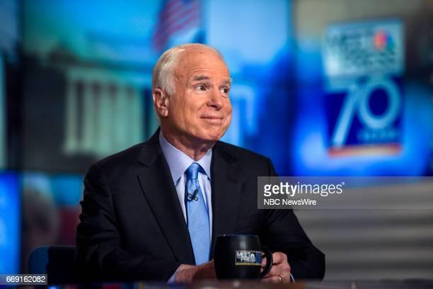 Sen John McCain appears on 'Meet the Press' in Washington DC Sunday April 16 2017