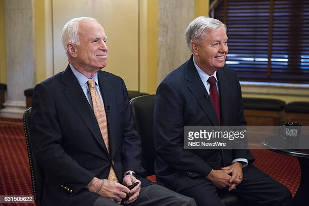 Sen John McCain left and Sen Lindsey Graham right appear in a pretaped interview on 'Meet the Press' in Washington DC Friday January 6 2017
