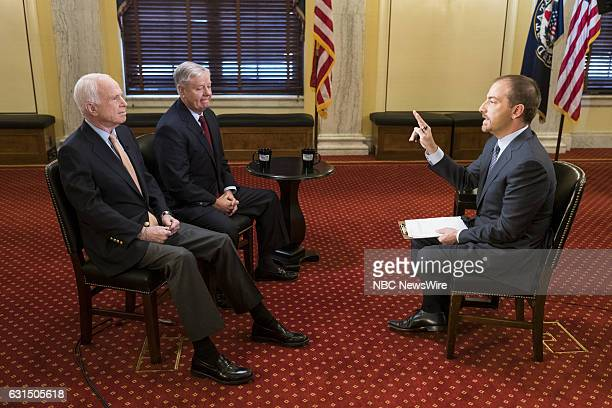 Sen John McCain left Sen Lindsey Graham center and moderator Chuck Todd right appear in a pretaped interview on 'Meet the Press' in Washington DC...