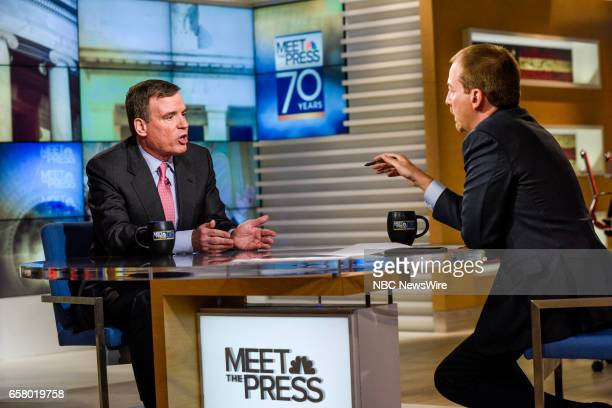 Sen Mark Warner and moderator Chuck Todd appear on 'Meet the Press' in Washington DC Sunday March 26 2017