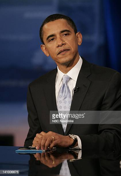Senator Barack Obama during the Democratic Presidential Candidates Debates moderated by MSNBC's Tim Russert and Brian Williams held at the Cashman...