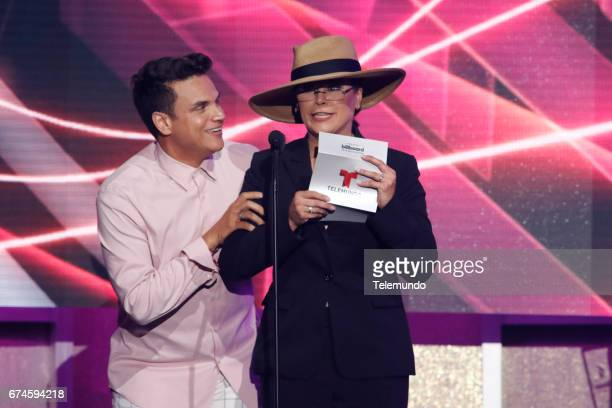 Silvestre Dangond and Olga Tanon speak on stage at the Watsco Center in the University of Miami Coral Gables Florida on April 27 2017