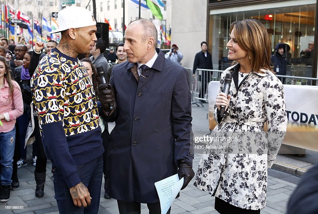 Singer Chris Brown, Matt Lauer and Savannah Guthrie appear on NBC News' 'Today' show on April 1, 2013 --