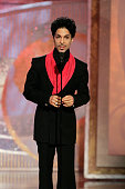 Singer Prince speaks on stage at the 62nd Annual Golden Globe Awards held at the Beverly Hilton Hotel on January 16 2005
