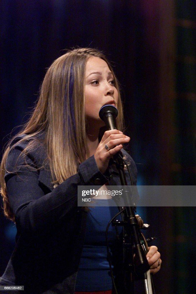 (Singer Sara Watkins perfoming with Group, Nickel Creek on June 27th, 2001 --