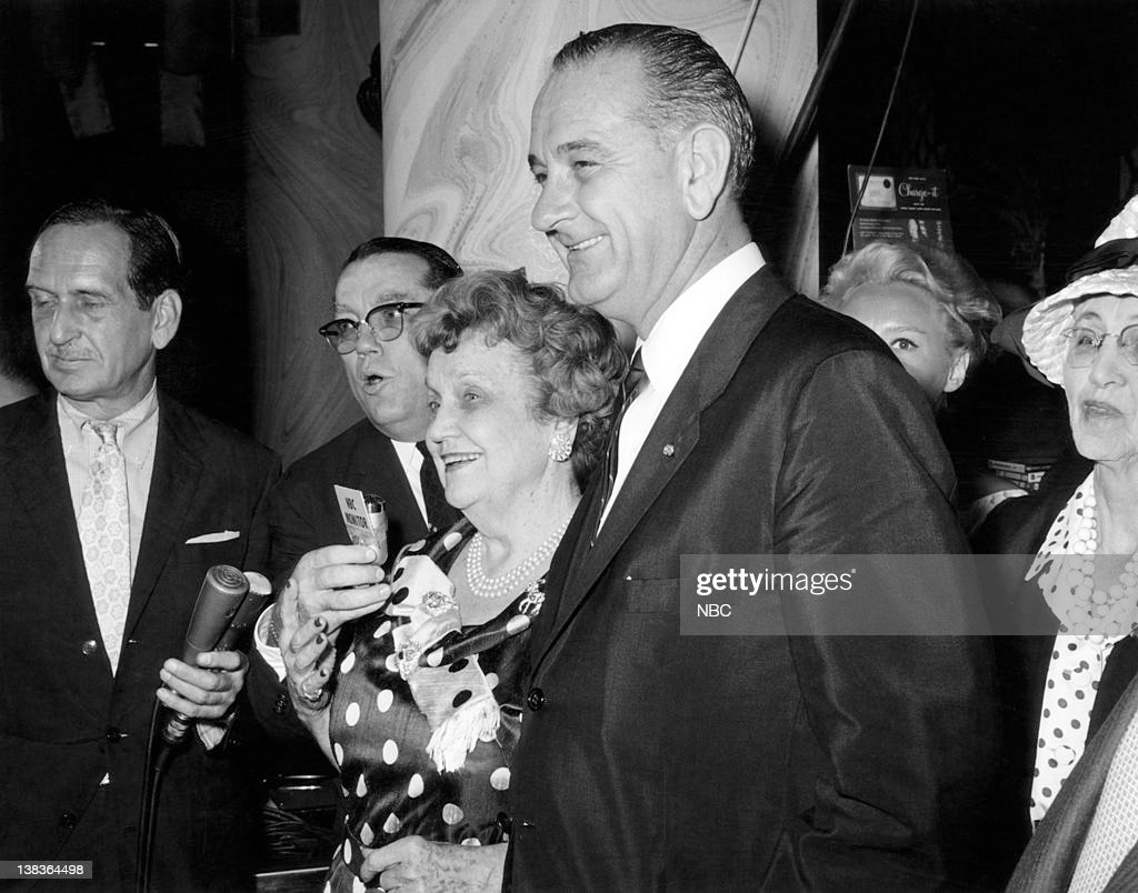 Socialite Perle Mesta for NBC's 'Monitor', Vice Presidential nominee Lyndon B. Johnson at the Democratic National Convention in Los Angeles July 11-15, 1960