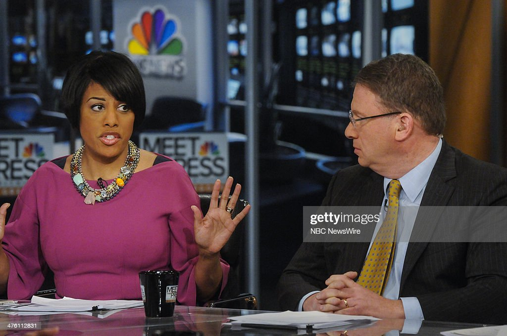 Stephanie Rawlings-Blake, Mayor of Baltimore (D) left, and Jeffrey Goldberg, Correspondent, The Atlantic & Columnist, Bloomberg View, right, appear on 'Meet the Press' in Washington, D.C., Sunday, March 2, 2014.