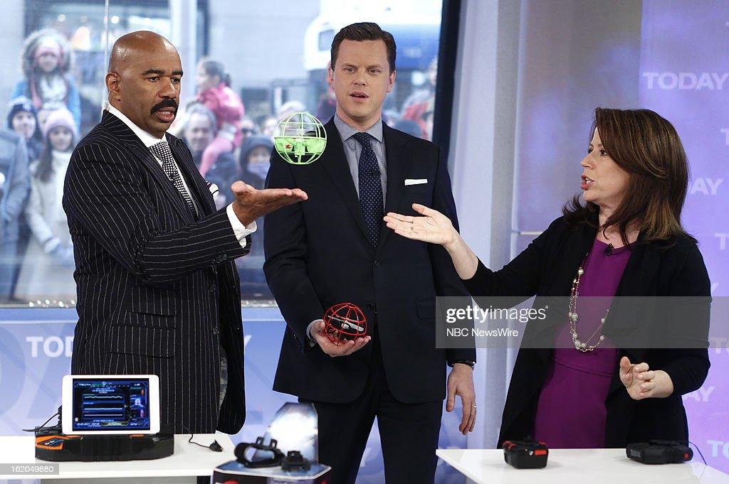 Steve Harvey, Willie Geist and Stephanie Oppenheim appear on NBC News' 'Today' show --