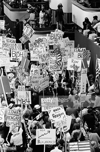 Supporters at the 1984 Republican National Convention held at the Dallas Convention Center in Dallas TX on August 23 1984