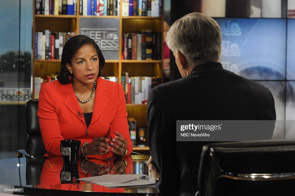 Susan Rice, National Security Adviser, left, and moderator David Gregory, right, appear on 'Meet the Press' in Washington, D.C., Sunday, Feb. 23, 2014.