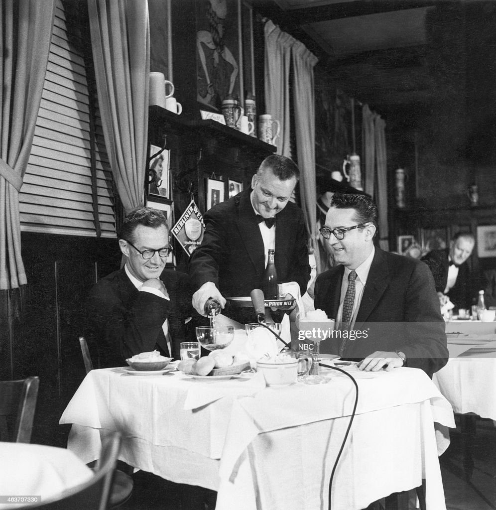Sylvester 'Pat' Weaver and host Steve Allen broadcast from the Blue Ribbon Restaurant --