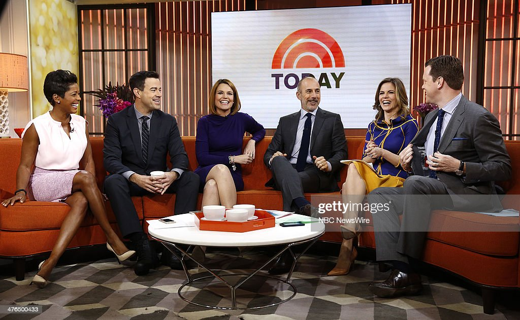 Tamron Hall, Carson Daly, Savannah Guthrie, Matt Lauer, Natalie Morales and Willie Geist appear on NBC News' 'Today' show --