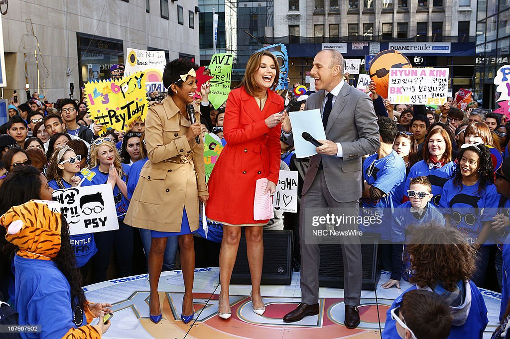 Tamron Hall, Savannah Guthrie and Matt Lauer appear on NBC News' 'Today' show --
