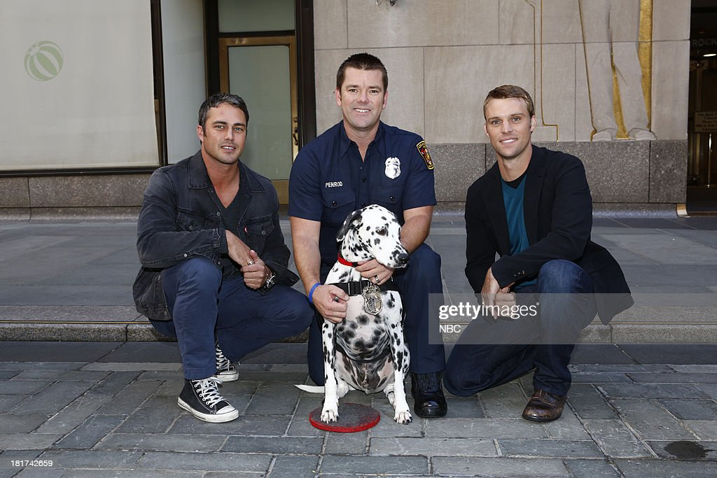<a gi-track='captionPersonalityLinkClicked' href=/galleries/search?phrase=Taylor+Kinney&family=editorial&specificpeople=747018 ng-click='$event.stopPropagation()'>Taylor Kinney</a>, Wilshire, a firehouse dog from Los Angeles in the running for the title of 'Top Dog' with trainer Ryan Penrod, and <a gi-track='captionPersonalityLinkClicked' href=/galleries/search?phrase=Jesse+Spencer&family=editorial&specificpeople=630230 ng-click='$event.stopPropagation()'>Jesse Spencer</a> appear on NBC News' 'Today' show --
