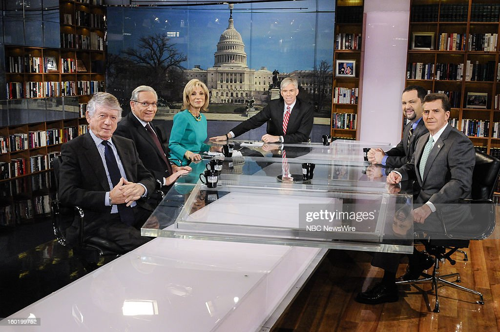 – Ted Koppel, Contributor, NBC News, Bob Woodward, Associate Editor, Washington Post, Andrea Mitchell, Chief Foreign Affairs Correspondent, NBC News, moderator David Gregory, Ben Jealous, President and CEO, NAACP, and Fmr. Sen. Jim DeMint (R-SC) appear on 'Meet the Press' in Washington D.C., Sunday, Jan. 27, 2013.