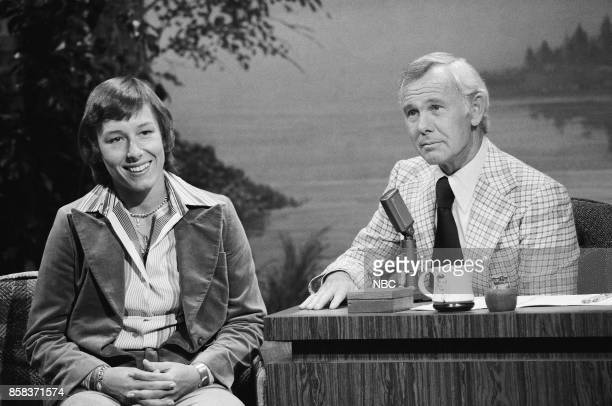 Tennis player Martina Navratilova during an interview with host Johnny Carson on February 15 1977