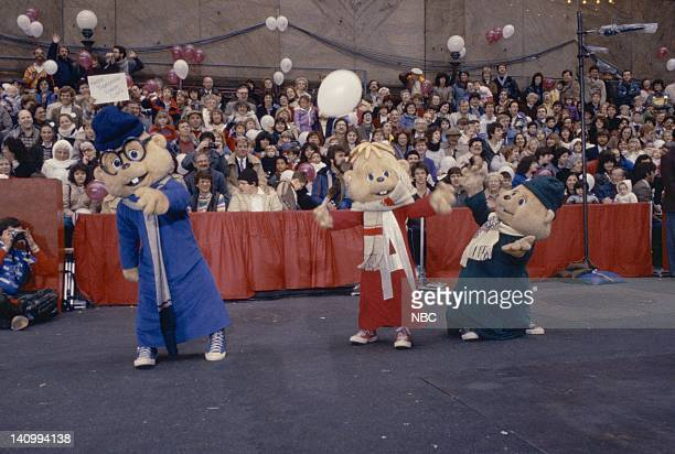 The Chipmunks Simon Alvin and Theordore sing during the 1983 Macy's Thanksgiving Day Parade Photo by Alan Singer/NBCU Photo Bank