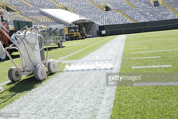 The grounds crew gets the field ready at Lambeau Field in Green Bay WI as part of NBCUniversal's NFL Kick Off Photo by Paul Drinkwater/NBC/NBCU Photo...