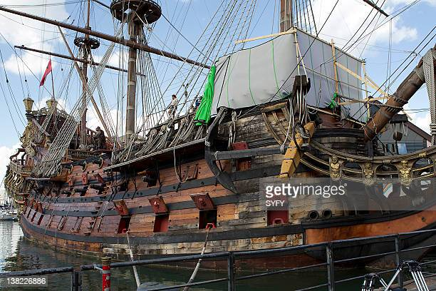 The 'Jolly Roger pirate ship on the set of 'Neverland'