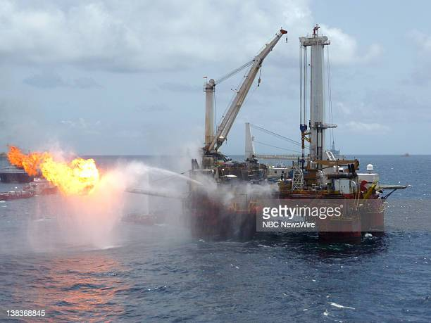 The Q4000 burning off oil and gas at the site of the oil spill at the Deepwater Horizon drilling platform An estimated 8000 barrels burned every 24...