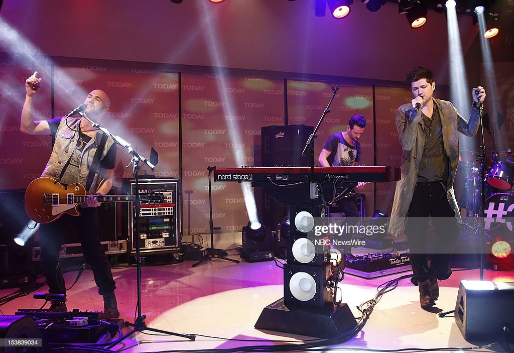 The Script (l-r) Mark Sheehan, Glen Power, Danny O'Donoghue appear on NBC News' 'Today' show --