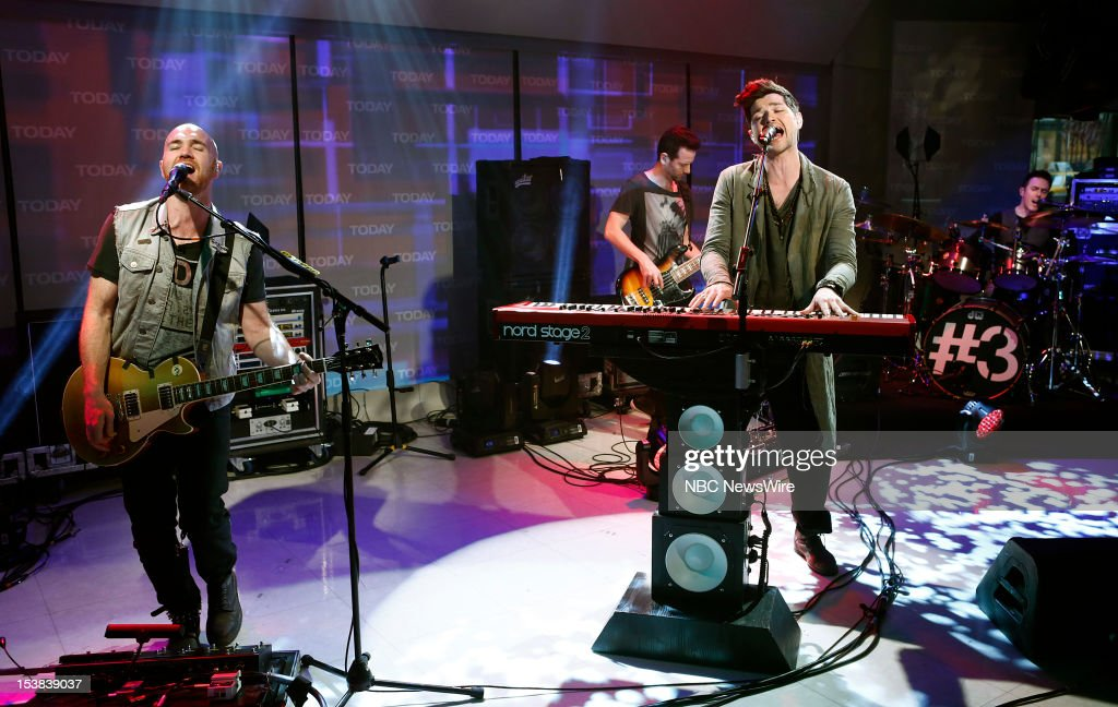 The Script (l-r) Mark Sheehan, Glen Power, <a gi-track='captionPersonalityLinkClicked' href=/galleries/search?phrase=Danny+O%27Donoghue&family=editorial&specificpeople=5598563 ng-click='$event.stopPropagation()'>Danny O'Donoghue</a> appear on NBC News' 'Today' show --