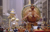 The Turkey float with the Big Bird balloon in the background during the 1999 Macy's Thanksgiving Day Parade Photo by Craig Blankenhorn/NBCU Photo Bank