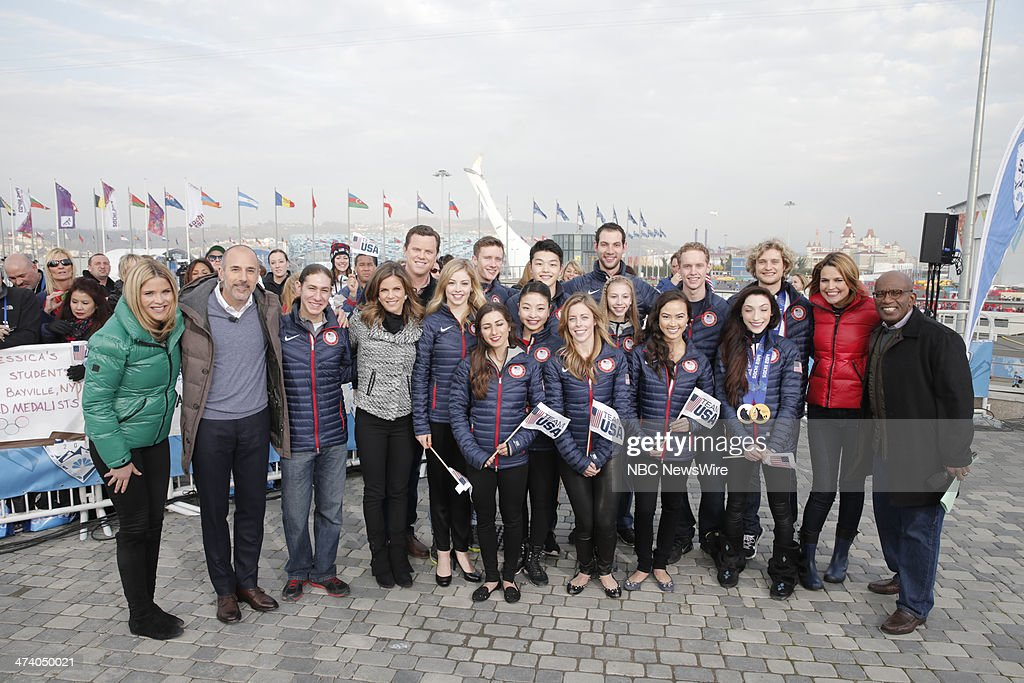 The United Stated Figure Skating Team <a gi-track='captionPersonalityLinkClicked' href=/galleries/search?phrase=Maia+Shibutani&family=editorial&specificpeople=7281837 ng-click='$event.stopPropagation()'>Maia Shibutani</a>, <a gi-track='captionPersonalityLinkClicked' href=/galleries/search?phrase=Alex+Shibutani&family=editorial&specificpeople=7281835 ng-click='$event.stopPropagation()'>Alex Shibutani</a>, <a gi-track='captionPersonalityLinkClicked' href=/galleries/search?phrase=Gracie+Gold&family=editorial&specificpeople=9153874 ng-click='$event.stopPropagation()'>Gracie Gold</a>, <a gi-track='captionPersonalityLinkClicked' href=/galleries/search?phrase=Simon+Shnapir&family=editorial&specificpeople=6702348 ng-click='$event.stopPropagation()'>Simon Shnapir</a>, <a gi-track='captionPersonalityLinkClicked' href=/galleries/search?phrase=Marissa+Castelli&family=editorial&specificpeople=6702347 ng-click='$event.stopPropagation()'>Marissa Castelli</a>, <a gi-track='captionPersonalityLinkClicked' href=/galleries/search?phrase=Ashley+Wagner&family=editorial&specificpeople=2564533 ng-click='$event.stopPropagation()'>Ashley Wagner</a>, <a gi-track='captionPersonalityLinkClicked' href=/galleries/search?phrase=Evan+Bates&family=editorial&specificpeople=4839407 ng-click='$event.stopPropagation()'>Evan Bates</a>, <a gi-track='captionPersonalityLinkClicked' href=/galleries/search?phrase=Madison+Chock&family=editorial&specificpeople=6471803 ng-click='$event.stopPropagation()'>Madison Chock</a>, Charlie White, <a gi-track='captionPersonalityLinkClicked' href=/galleries/search?phrase=Meryl+Davis&family=editorial&specificpeople=3995758 ng-click='$event.stopPropagation()'>Meryl Davis</a> with <a gi-track='captionPersonalityLinkClicked' href=/galleries/search?phrase=Jenna+Bush+Hager&family=editorial&specificpeople=175840 ng-click='$event.stopPropagation()'>Jenna Bush Hager</a>, <a gi-track='captionPersonalityLinkClicked' href=/galleries/search?phrase=Matt+Lauer&family=editorial&specificpeople=206146 ng-click='$event.stopPropagation()'>Matt Lauer</a>, Willie Geist, <a gi-track='captionPersonalityLinkClicked' href=/galleries/search?phrase=Natalie+Morales+-+News+Anchor&family=editorial&specificpeople=710956 ng-click='$event.stopPropagation()'>Natalie Morales</a>, <a gi-track='captionPersonalityLinkClicked' href=/galleries/search?phrase=Savannah+Guthrie&family=editorial&specificpeople=653313 ng-click='$event.stopPropagation()'>Savannah Guthrie</a>, and <a gi-track='captionPersonalityLinkClicked' href=/galleries/search?phrase=Al+Roker&family=editorial&specificpeople=206153 ng-click='$event.stopPropagation()'>Al Roker</a> from the 2014 Olympics in Socci --
