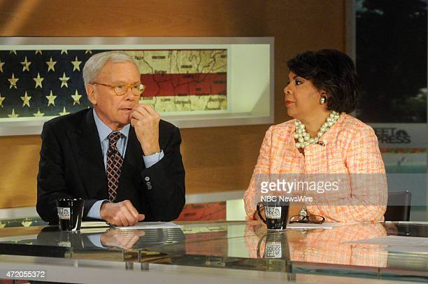 Tom Brokaw Special Correspondent for NBC News left and April Ryan White House Correspondent American Urban Radio Networks right appear on 'Meet the...