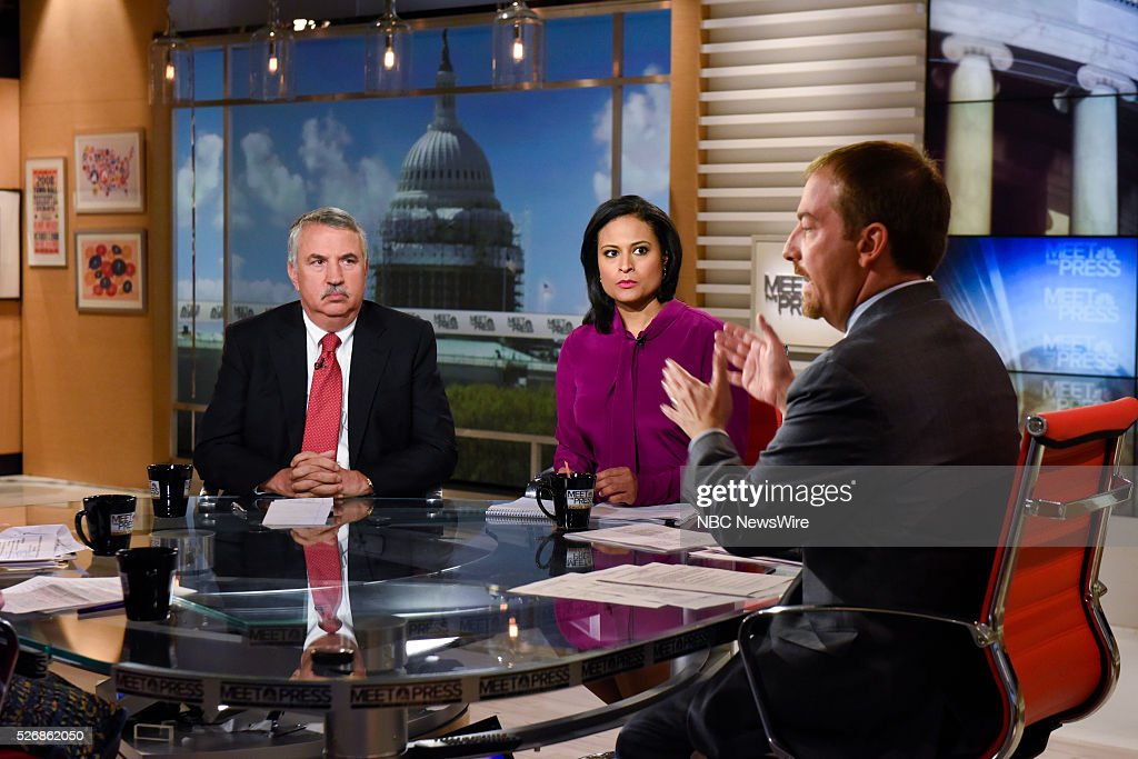 Tom Friedman, Columnist, The New York Times, Kristen Welker, NBC News White House Correspondent, and moderator Cguck Todd appear on 'Meet the Press' in Washington, D.C., Sunday May 1, 2016.