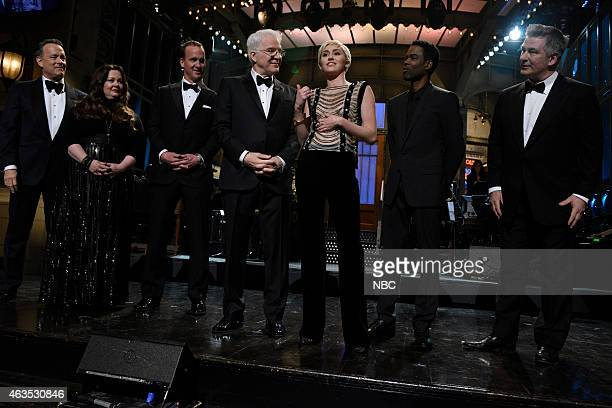 Tom Hanks Melissa McCarthy Peyton Manning Steve Martin Miley Cyrus Chris Rock Alec Baldwin during the cold open on February 15 2015