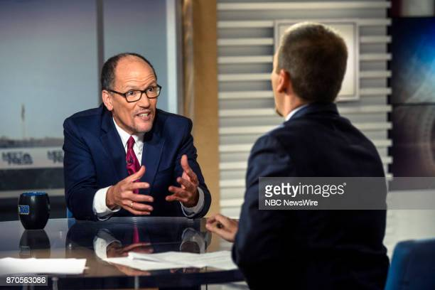 Tom Perez Chair Democratic National Committee and moderator Chuck Todd appear on 'Meet the Press' in Washington DC Sunday Nov 5 2017