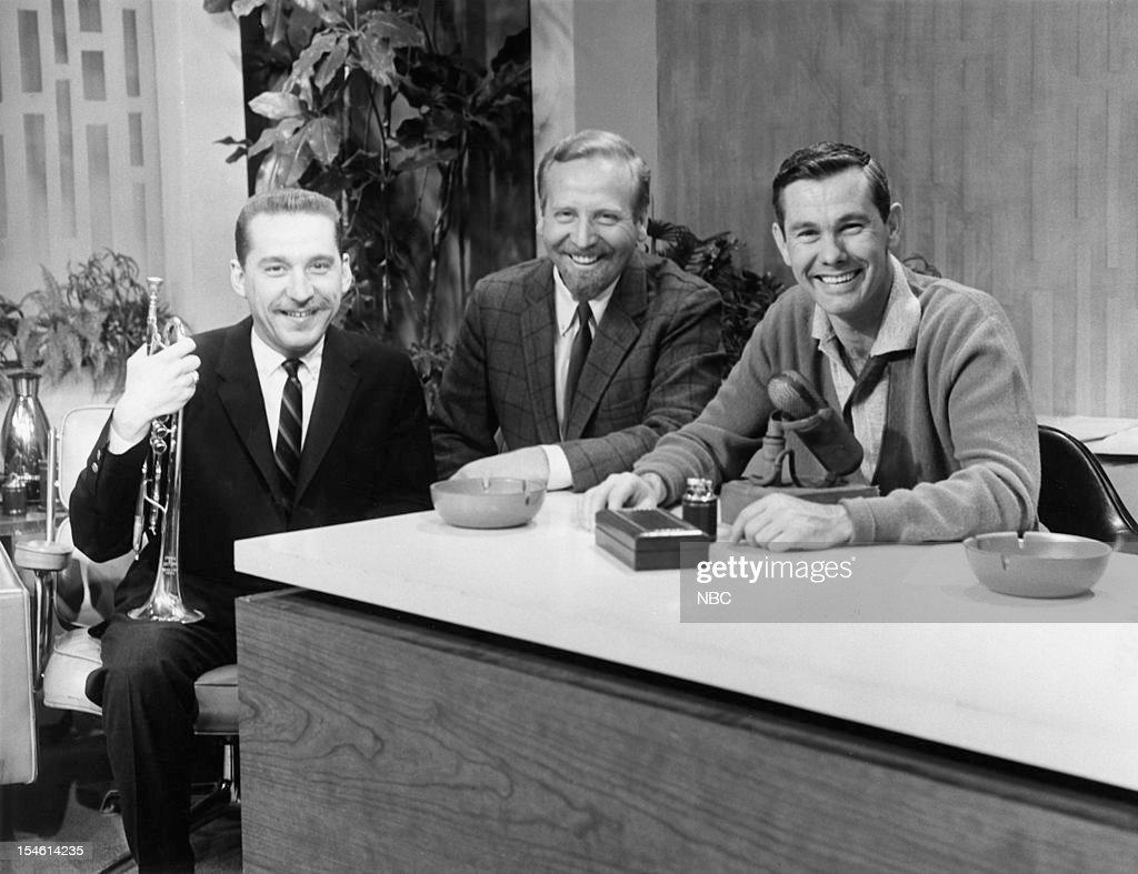 Trumpet player Doc Severinsen, bandleader Skitch Henderson, host Johnny Carson --