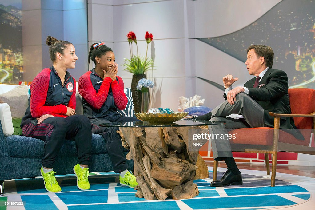 US Gymnasts Aly Raisman and Simone Biles during an Interview with Bob Costas on August 17 2016