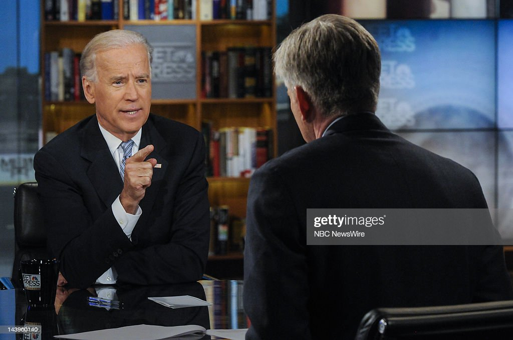 – Vice President Joe Biden, left, and moderator David Gregory, right, appear on 'Meet the Press' in a pre taped interview in Washington D.C., Friday, May 4, 2012.