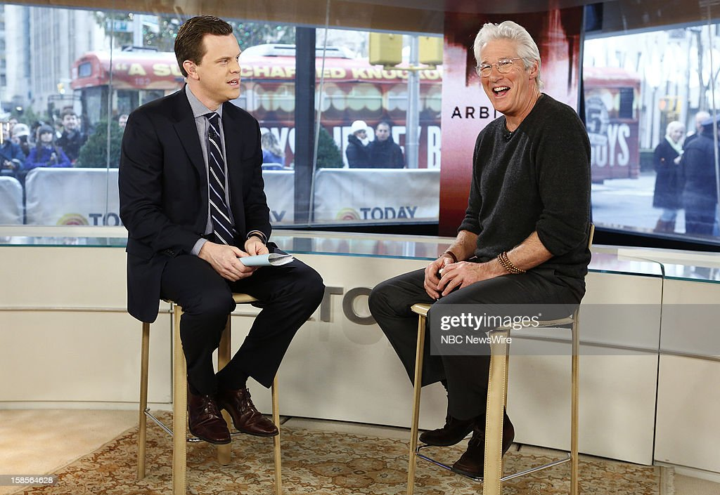 Willie Geist and <a gi-track='captionPersonalityLinkClicked' href=/galleries/search?phrase=Richard+Gere&family=editorial&specificpeople=202110 ng-click='$event.stopPropagation()'>Richard Gere</a> appear on NBC News' 'Today' show --
