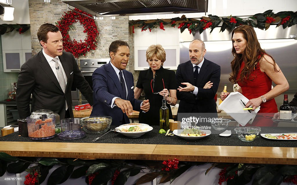 Willie Geist, Bryant Gumbel, Jane Pauley, Matt Lauer and Brooke Shields appear on NBC News' 'Today' show --