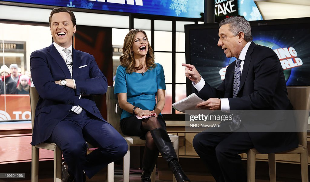 Willie Geist, <a gi-track='captionPersonalityLinkClicked' href=/galleries/search?phrase=Natalie+Morales+-+News+Anchor&family=editorial&specificpeople=710956 ng-click='$event.stopPropagation()'>Natalie Morales</a> and Len Berman appear on NBC News' 'Today' show --