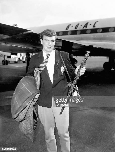 Pictured with a souvenir of New Zealand a carved Maori stick at London Airport today is Tony O'Reilly who had returned from the British Lions Rugby...