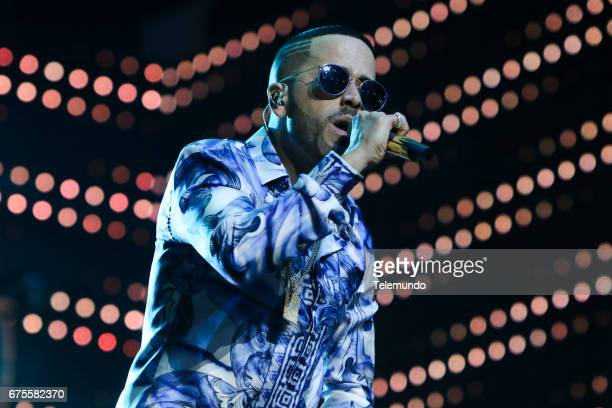 Yandel performs during rehearsals at the Watsco Center in the University of Miami Coral Gables Florida on April 25 2017