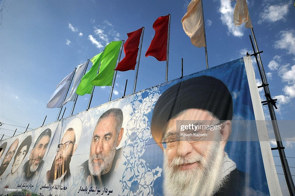 Pictures of Ayatollah Ali Khamenei and martyrs of the armed forces are displayed on a huge banner during a military parade commemorating the 31st anniversary of Iran-Iraq war on September 22, 2011 in Tehran, Iran. Iran is holding military parades in Tehran and other parts of the country on the first day of the Sacred Defence Week. Tehran's parade began to the north of Imam Khomeini's mausoleum providing the army, Islamic Revolution Guards Corps, Law Enforcement Force and Basij with an opportunity to display their state of military preparedness, in which armaments and indigenously built military equipment including Shahab missiles, unmanned aircrafts, Zulfaqar tanks, and a variety of rapid fire machine guns were showcased.