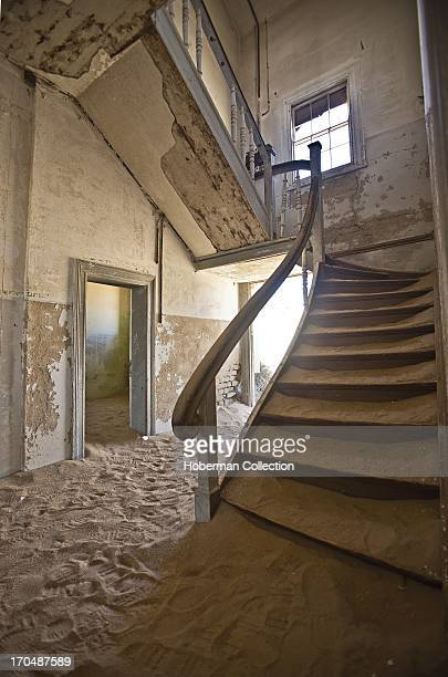 Pictures of desolate ghost town at Kolmanskop Namibia