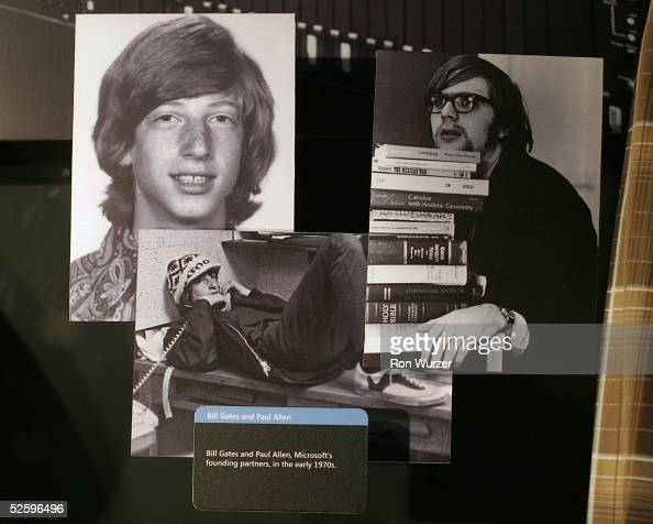 Pictures of Microsoft cofounders Bill Gates and Paul Allen from the early 1970's are on display at the Microsoft Visitor Center April 6 2005 in...